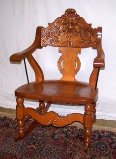 This is a beautiful carved rocking chair that has been professionally refinished. Antique Furniture, Furniture Decor, Oldies But Goodies, Rocking Chairs, Desk Chair, Cool Photos, Sweet Home, Shabby Chic, Victorian