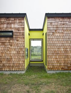 Splashes of chartreuse enliven N-Holiday House, a seaside getaway by Sohei…