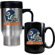 Chicago Bears Helmet Travel & Ceramic Mug Set