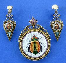 Egyptian Scarab Micromosaic Brooch & Earrings Set c1850