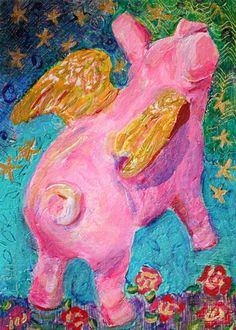 Items similar to Pig Kids Wall Art - 'When Pigs Fly' Art Print Limited Edition 10 Pig Wall Art, Original Acrylic Painting ,Folk Art Pig, Whimsical on Etsy Cool Wall Art, Art Wall Kids, This Little Piggy, Little Pigs, Pig Images, Funny Pigs, Pig Art, Flying Pig, Happy Paintings
