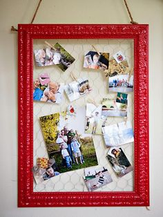 Picture frame clip board  -paint an olded picture frame and then attach chicken wire to teh back of the frame to create an item that can hold both pictures and to do list... or kids art