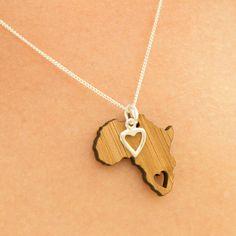 Africa Heart Bamboo & Silver Pendant - Hallo Jane | Available at shop.kamersvol.com