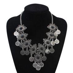 2015 New Steampunk Vintage Silver Plated Women Ethnic Statement Necklace Colar Coin Necklaces Fashion Bijoux Femme Jewelry Zora