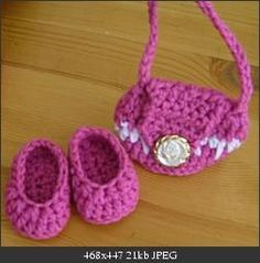 American Girl doll size shoes  Love this pattern - very easy to make and they fit the doll nicely! Love all of darski's patterns for AG on crochetville.org