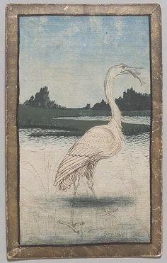 """Konrad Witz, """"1 of Herons, from The Courtly Hunt Cards"""", ca. 1440–45, Paper (pasteboard) with watercolor, opaque paint, and gold over pen and ink 