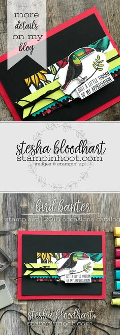 Bird Banter Stamp Set from Stampin' Up! 2018 Occasions Catalog created by Stesha Bloodhart, Stampin' Hoot! for #gdp122 #steshabloodhart #stampinhoot