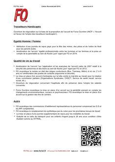 Les Revendications FO » FO TCL Syndicat Libre et Indépendant