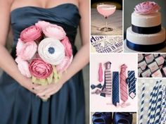 navy and pink wedding inspiration board