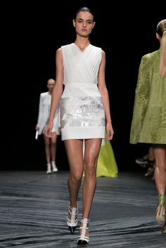 J. Mendel Spring 2015. The cut. The mix of patterns / textures. The color white.