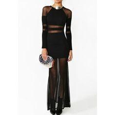 Long Sleeves Round Neck Stripes Pattern Beam Waist See-through Sexy Women's Dress