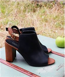 Tendance Chaussures  Chaussures femme boots ouvertes bicolore NOIR  Tendance & idée Chaussures Femme 2016/2017 Description GDM - Chaussures femme boots ouvertes bicolore