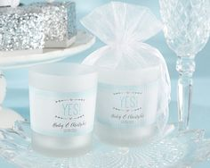 Personalized Frosted Glass Votive - He Asked, She Said Yes