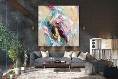 Items similar to Large Modern Wall Art Painting,Large Abstract wall art,painting colorful,xl abstract painting,canvas wall art on Etsy Large Abstract Wall Art, Large Canvas Art, Large Painting, Painting Canvas, Gold Canvas, Canvas Canvas, Knife Painting, Acrylic Canvas, Bright Paintings