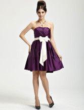 Delicate Grape Satin Strapless Womens Cocktail Dress