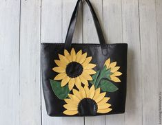 Leather Bag, Applique, Bee, Reusable Tote Bags, Leather Bags