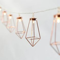 Omika Rose Gold Geometric Fairy Lights, USB & Battery Powered, 10 LED Metal Lantern String Lights for Girls Bedroom, Bridal Shower Decorations & Boho Home Decor Warm White)