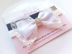 Girls/Baby Headband White Bow Headband with by BowtiquebyprincessT, $12.90
