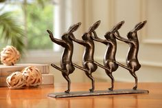 Iron Whimsical Dancing Rabbits on Parade Statue Figure | eBay