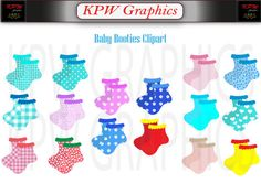 Baby Booties Clipart Set (various colors) in high quality PNG format. Personal & Small Commercial use