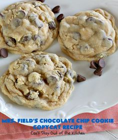 Field's Chocolate Chip Cookie Copycat Recipe – Can't Stay Out of the Kitchen Mrs Fields Chocolate Chip Cookies, Best Chocolate Chip Cookie, Semi Sweet Chocolate Chips, Cookie Recipes, Dessert Recipes, Desserts, Blueberry Cobbler Recipes, Top Secret Recipes, Oven Cooking
