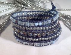5 Wrap Bracelet Natural Blue Leather with Blue & Silver Seed Beads, Aqua Agate, Steel Blue and Silver Crystals and Platinum Plated Hematite by BraceletsForMe on Etsy