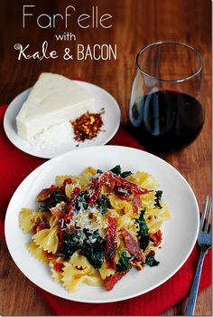 Farfelle with Kale & Bacon. An easy, 20 minute dinner idea that is addictingly delicious!