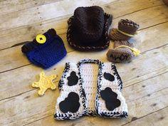 Crochet el traje de vaquero bebé traje por PinkPoppiesStudio
