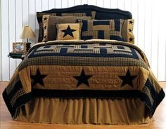 Primitive Decor Black Delaware Star 3 Pc. Queen Size Bedding, Quilt & 2 Shams #VictorianHeart #Country