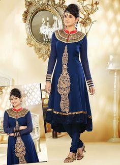 Gorgeous Deep Royal Blue Salwar Kameez | StylishKart.com