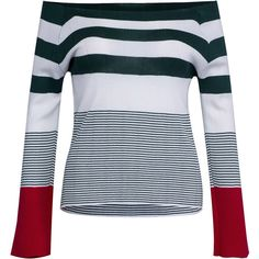 Multicolor Off Shoulder Stripe Contrast Cuff Knit Jumper ($36) ❤ liked on Polyvore featuring tops, sweaters, striped knit sweater, knit sweater, off shoulder tops, off shoulder sweater and off shoulder knit sweater