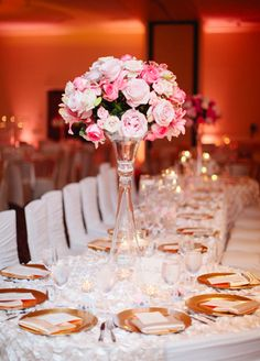 pink and white #centerpieces