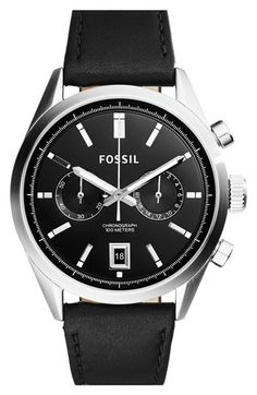 Men's Fossil 'Del Rey' Chronograph Leather Strap Watch
