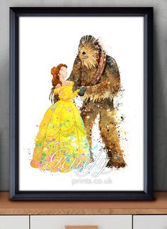 Star Wars x Disney Belle and Chewbacca Watercolor Painting Art Poster Print Wall Decor https://www.etsy.com/shop/genefyprints