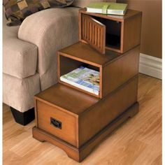 side table drawer living room furniture wood shelf storage mission