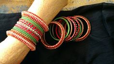 Your place to buy and sell all things handmade Silk Thread Bangles Design, Thread Jewellery, Jewelry, Purple Gold, Green And Gold, Red Green, Red Silk, Pink Silk, Indian Accessories