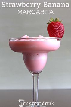 The Strawberry-Banana Margarita is just what it sounds like - a traditional blended margarita with the addition of actual strawberries and banana. The end result when you use real fruit is a smoothie texture, and that's part of the charm with this one. Frozen Margaritas, Frozen Strawberry Margarita, Strawberry Banana Smoothie, Frozen Cocktails, Fruit Smoothies, Summer Cocktails, Cocktail Drinks, Cocktail Recipes, Easy Smoothies