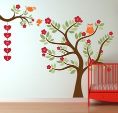 Nursery Tree Wall Decal with Owl and Birds by InAnInstantArt, $85.00