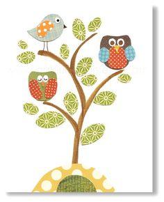 Nursery art prints, baby nursery decor, nursery wall art, kids art, nursery owl, tree nursery, woodland, Serenity 8x10 print