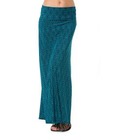 Another great find on #zulily! Teal & Black Ganado Maxi Skirt - Women by A La Tzarina #zulilyfinds