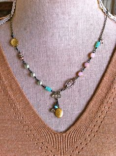 Lilian.romantic,pearl,glass beaded,rhinestone,locket necklace. Tiedupmemories