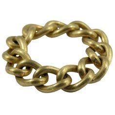 8b0dd2001 Florentine Finished Link Gold Bracelet | From a unique collection of vintage  link bracelets at https. 1stdibs.com