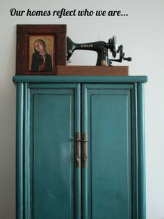 Not just the armoire, but the vintage Singer on top.  Love that.