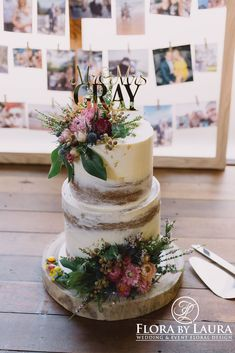Flora by Laura Cake Flowers - Stunning flowers to match a rustic, naked cake! 70th Birthday Cake For Women, 27th Birthday Cake, Rustic Birthday Cake, Birthday Cake With Flowers, Wedding Cake Rustic, Rustic Cake, Wedding Cakes With Flowers, Cool Birthday Cakes, Cake Flowers