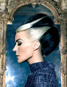 Two-Toned Retro 40's Updo. Also would be fun for a new take on Bride of Frankenstein's hair.