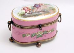 Paris Porcelain 1870's French Oval Jewelry Casket Box with Bronze Mounts