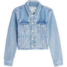 Off-White Flower Shop Denim Jacket (4 555 SEK) ❤ liked on Polyvore featuring outerwear, jackets, blue, bleached jean jacket, fitted jean jacket, blue jackets, flower denim jacket and print jacket