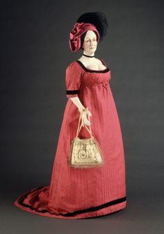 Pink ribbed silk empire dress with black stamped silk velvet trim, English, ca. 1801