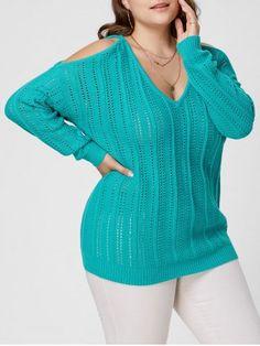 Plus Size Cold Shoulder Open Knit Sweater
