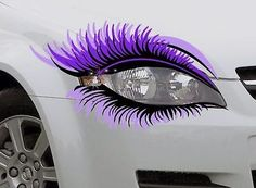 STICKER Pair Car Eye Lashes Eyelashes Headlight Car Mascara Eyebrow Purple